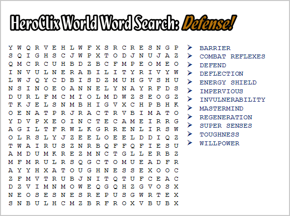 HeroClix World Word Search
