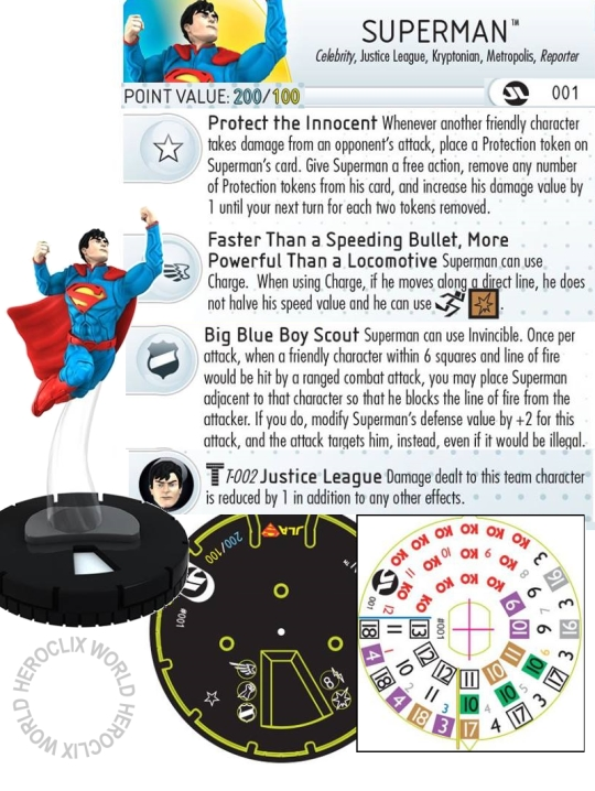 Justice League Strategy Superman HeroClix Dial