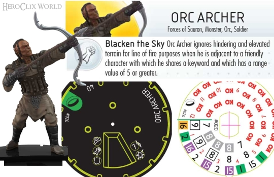 HeroClix Orc Archer Dial Fellowship of the Rings