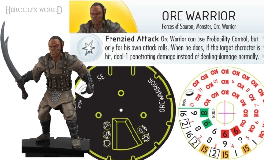 HeroClix Orc Warrior Dial Fellowship of the Rings