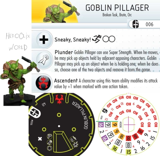 HeroClix Mage Knight Goblin Pillager dial