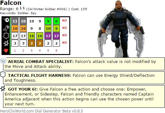 Falcon Winter Soldier HeroClix Dial