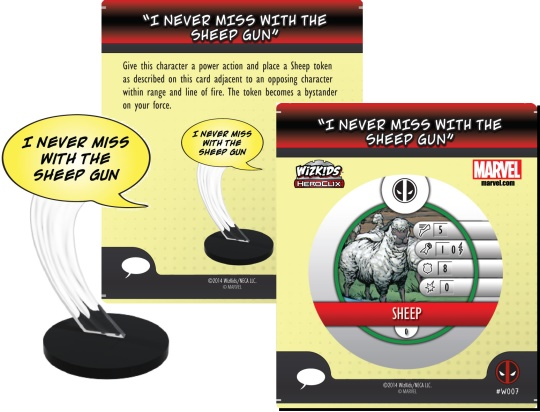 Deadpool HeroClix Word balloon I never Miss With the Gun