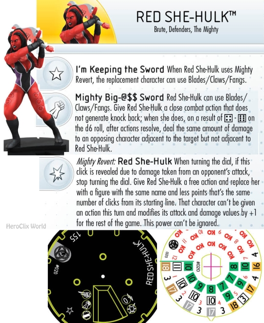 HeroClix Mighty Red She Hulk Dial
