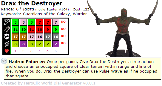 Drax the Destroyer HeroClix Guardians of the Galaxy Starter