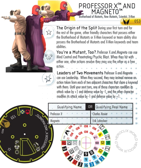 Professor X and Magneto HeroClix dial