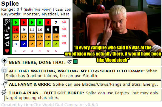 ClixCraves: Buffy the Vampire Slayer, Spike HeroClix Dial