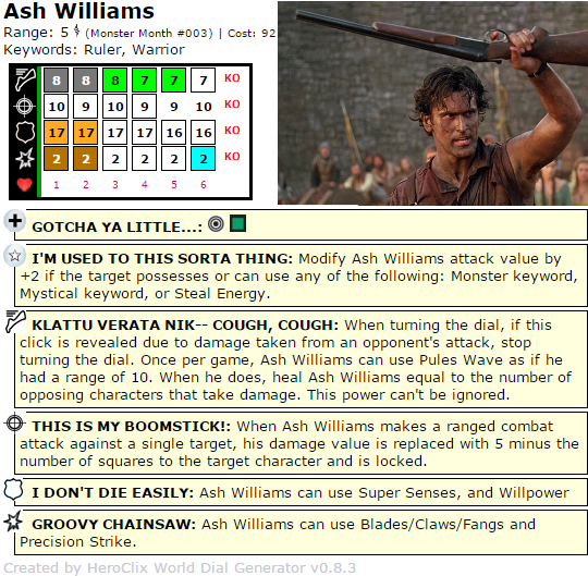 HeroClix Dial the Quintessential Ash Williams