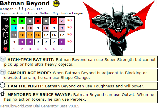 The Quintessential Batman Beyond HeroClix Dial