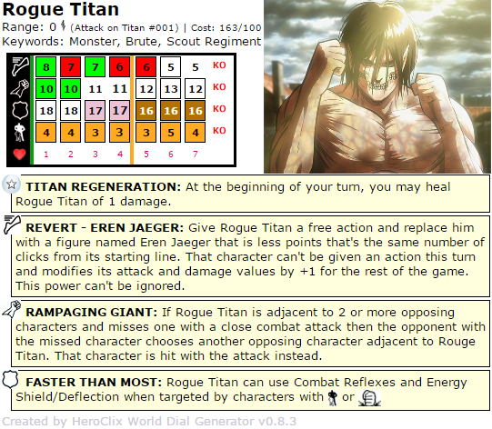 Rogue Titan Attack on Titan HeroClix Dial hiroClix