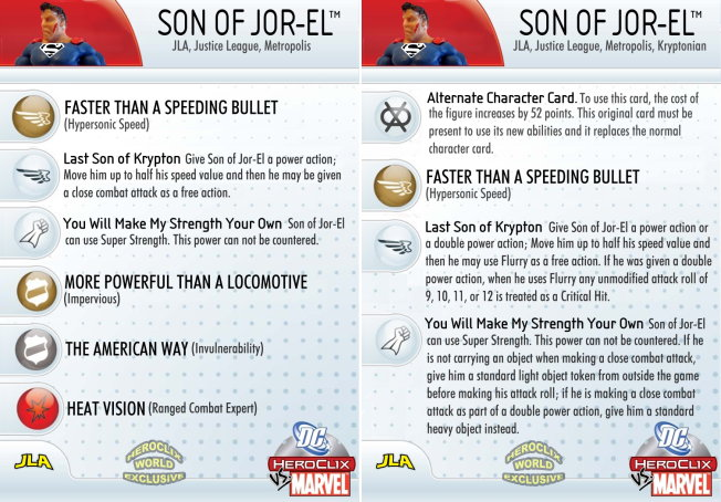 HeroClix World Exclusive Son of Jor-El Card